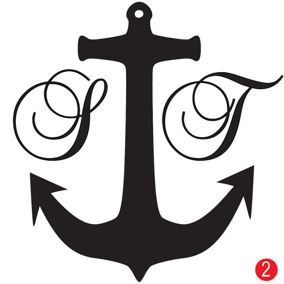 Nautical Anchor Monogram Wedding Stamp
