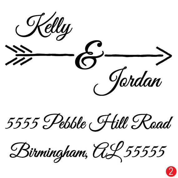 Cupid's Arrow Wedding Address Stamp