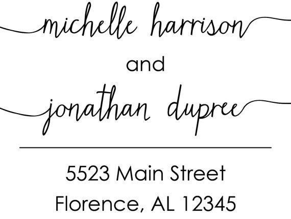 Script Wedding Address Stamp