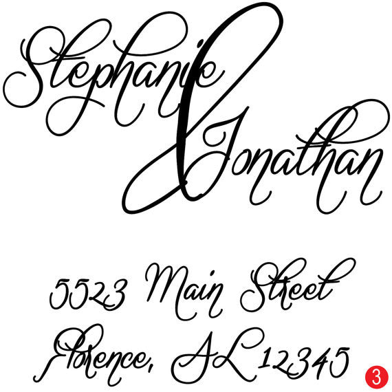 Ampersand Love Personalized Wedding Address Stamp