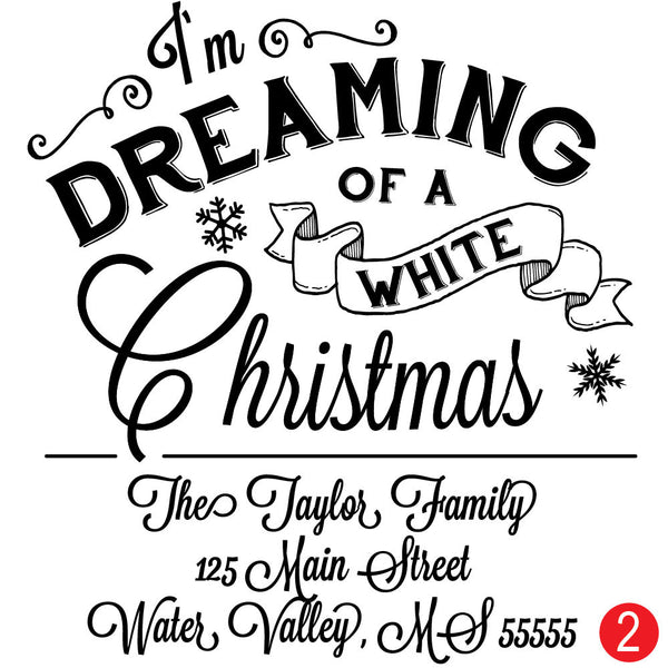 Dreaming of A White Christmas Personalized Christmas Address Stamp