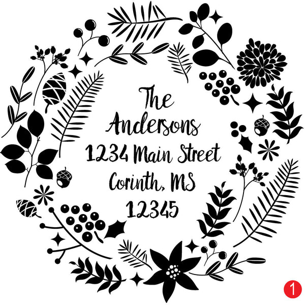 Modern Wreath Custom Christmas Stamp