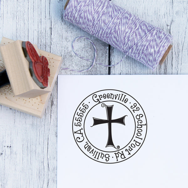 Whimsical Cross Personalized Address Stamp