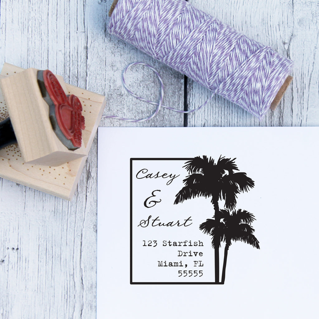 Palm Tree Destination Wedding Stamp
