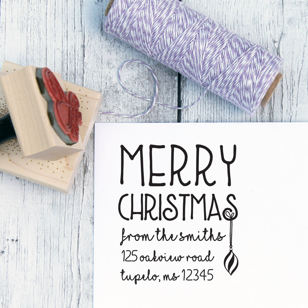 Hand Lettered Christmas Address Stamp