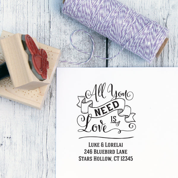 All You Need Is Love Custom Wedding Return Address Stamp
