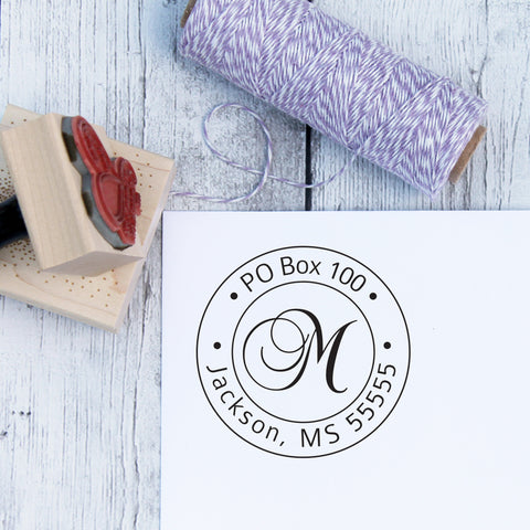 Round Initial Personalized Address Stamp