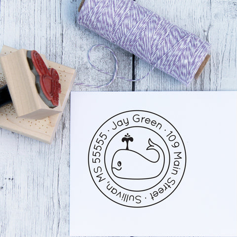 Wally Whale Personalized Rubber Address Stamp