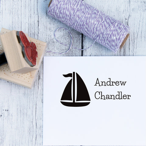 Sailboat Custom Name Stamp