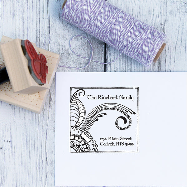 Henna Flower Custom Address Stamp