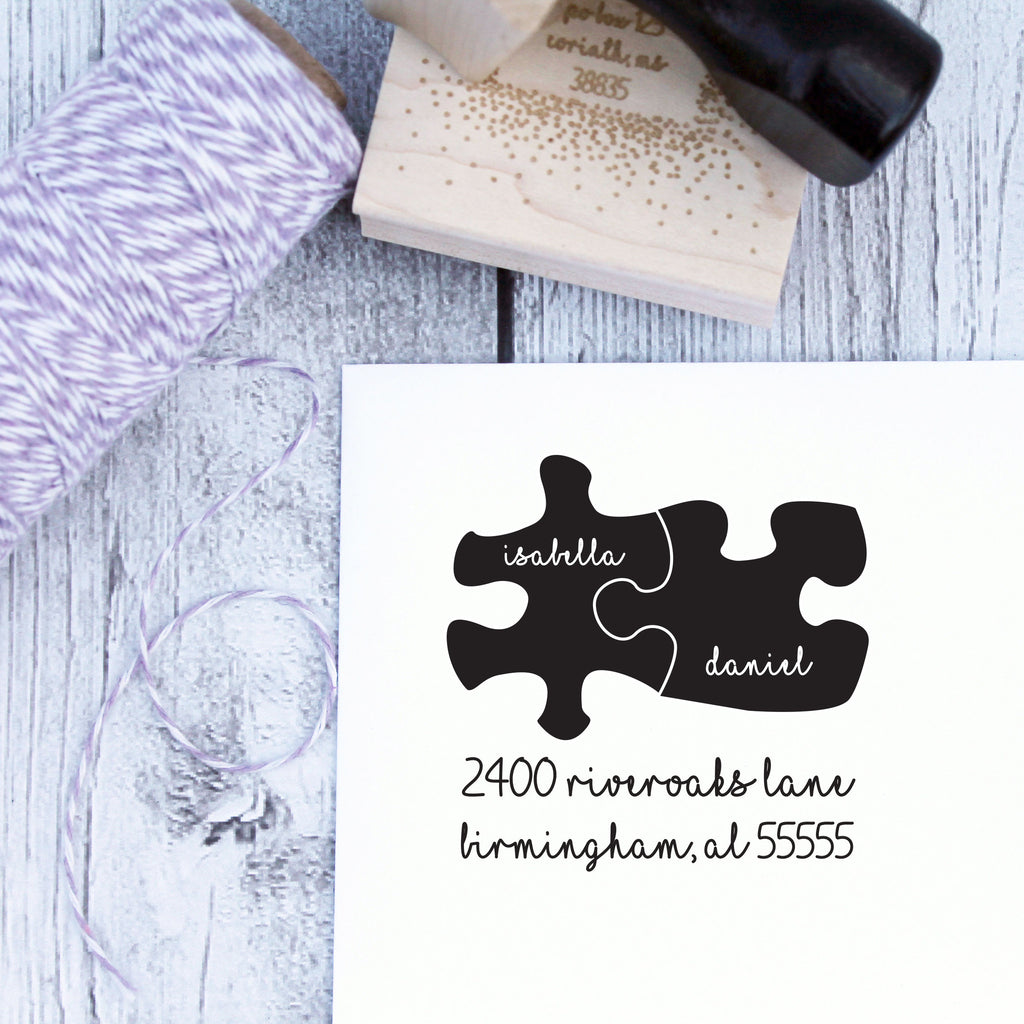 Puzzle Pieces Wedding Custom Address Stamp