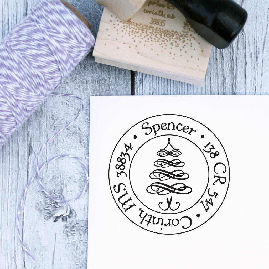 Round Flourishes Christmas Tree Personalized Address Stamp