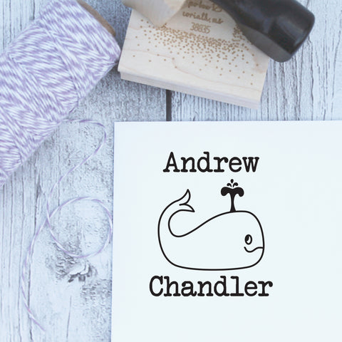 Wally Whale Personalized Name Stamp