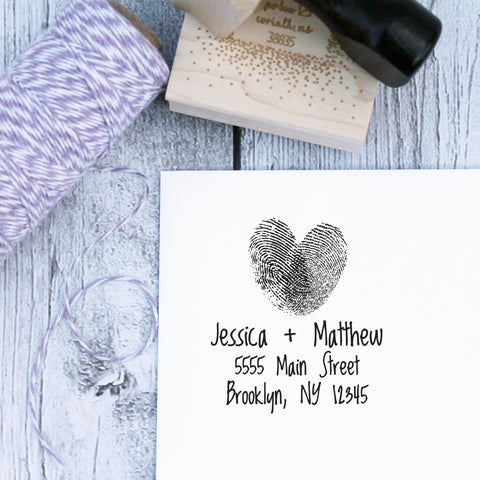 Fingerprint Love Custom Wedding Address Stamp