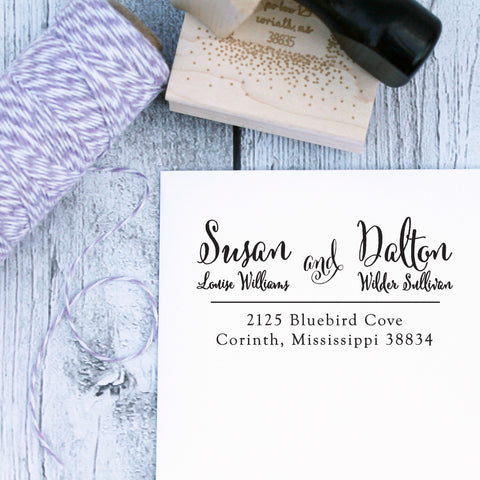 Formal Names Wedding Rubber Address Stamp