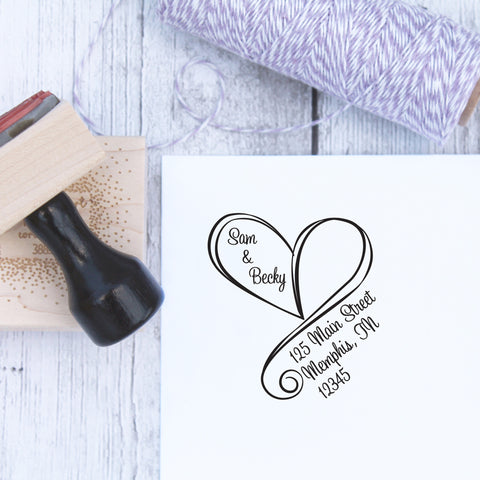 Swirly Heart Wedding Return Address Stamp