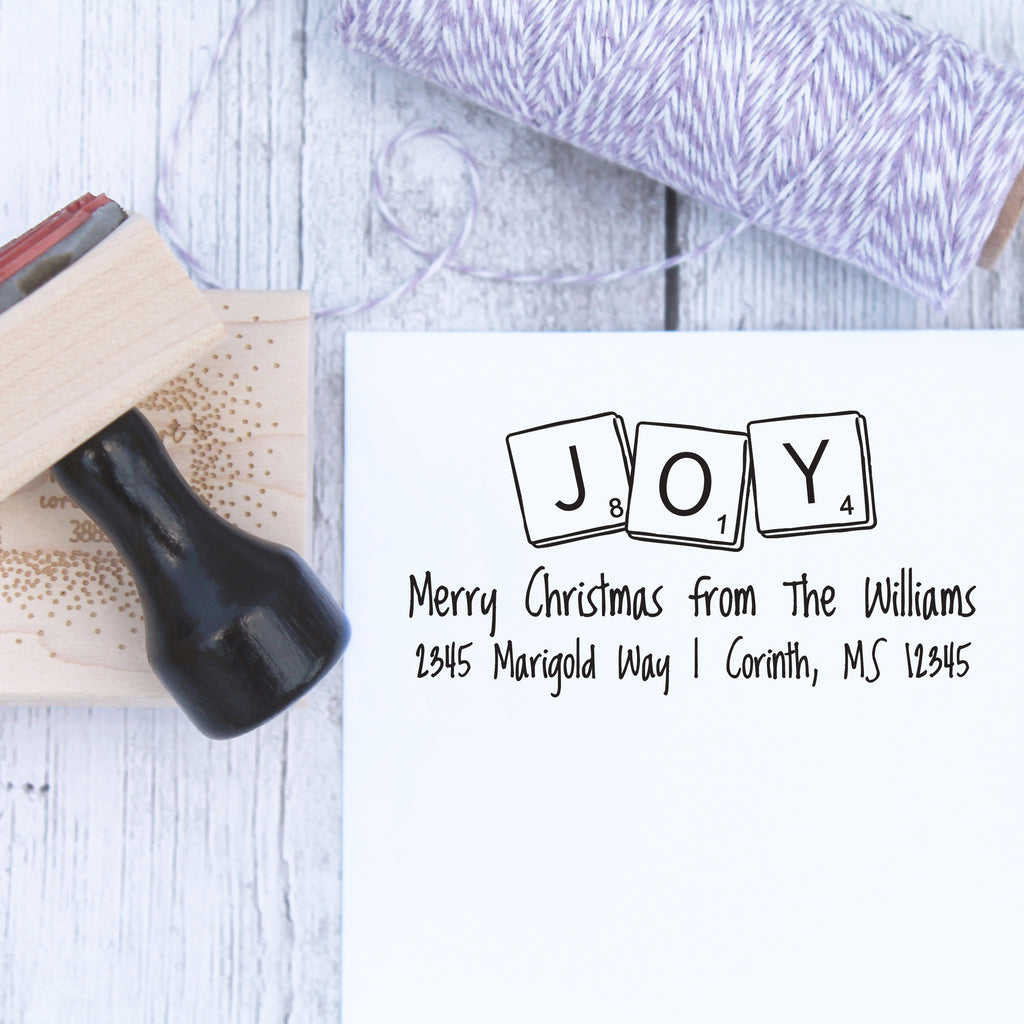 Scrabble Joy Holiday Address Stamp