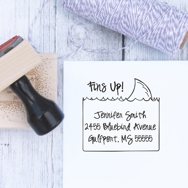Fins Up Personalized Address Stamp