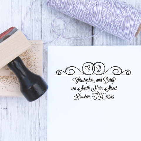 Double Ring Initial Wedding Address Stamp