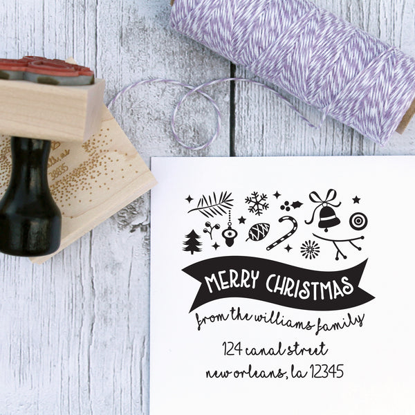 Merry Christmas Banner Custom Address Stamp