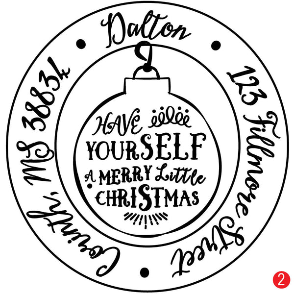 Letterpress Ornament Personalized Christmas Address Stamp