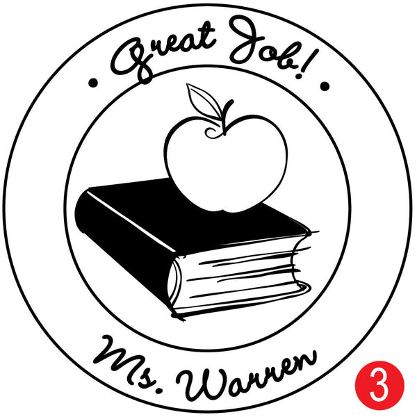 Book and Apple Custom Teacher Stamp