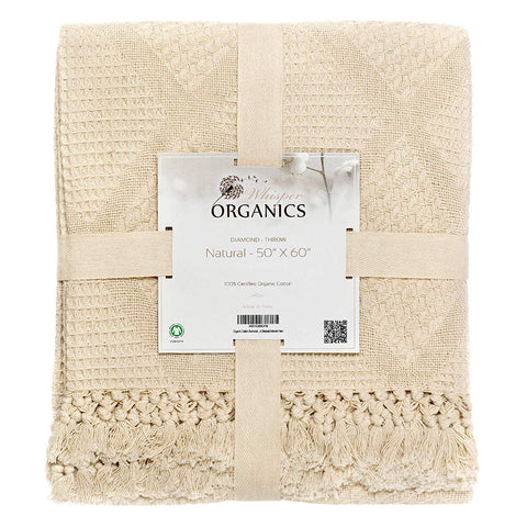 100% Organic Cotton Diamond Throw Blanket