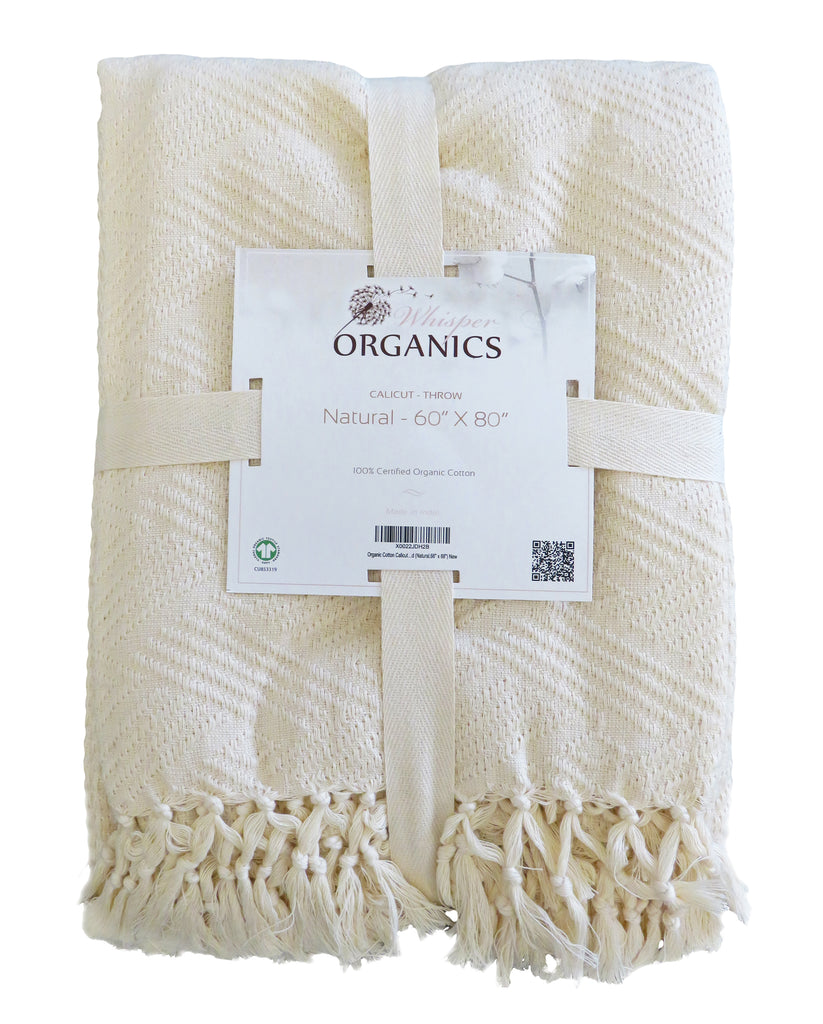Organic Jacquard Throw Blanket - Diamond Pattern