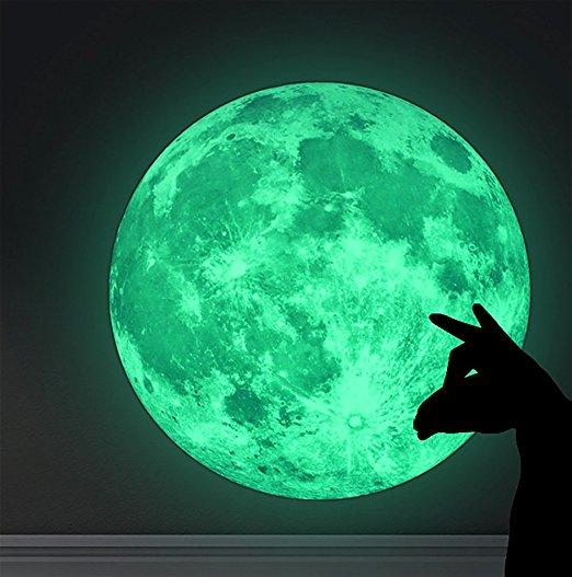 Glow In The Dark Moon Sticker: Majestic Paper Moon Sticker with Powerful, Long-Lasting Glow