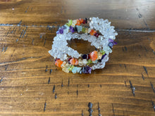 Load image into Gallery viewer, Wrap Around Chakra Chips Bracelet w/ Clear Quartz
