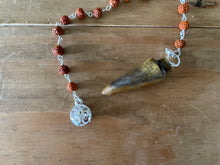 Load image into Gallery viewer, Pendulum Curved Tiger Eye w/ Rudraksha & Om