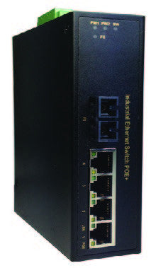 DYMEC DY-7041SC -  5 Port, PoE+, 30 Watt, Un-Managed, Long Range, Industrial Fast Ethernet Switch, SCADA, - with 4 X 10/100 Mbps TX Ports & 1 X 10/100 SC (2 KM Multi-Mode) Fiber , Din-Rail or Shelf Mount - DYMECDIRECT