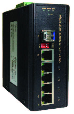 DYMEC DY-G8042TF-12 -  6 Port, Un-Managed, PoE+, Solar Series, Gigabit, PSE,  Industrial Ethernet Switch, SCADA, - with 4 X 10/100/1000 Mbps TX Ports, 1 x 100/1000 SFP & 1 X 10/100/1000 TX/SFP Combo Port , Din-Rail or Shelf Mount - DYMECDIRECT