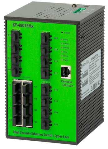 DYMEC KY-4807EMx, 20 Port, Layer 2, IEC 61850-3, Industrial Ethernet Switch, with 8 x 10/100/1000Base-T(X) ports and 12 x 100/1000Base-X SFP ports, Din-Rail supporting IPv4 & IPv6 Protocols, DoS / DDoS Supression - DYMECDIRECT