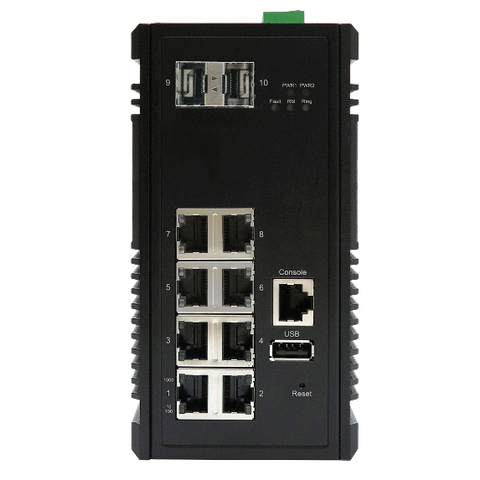 DYMEC KY-ESG0802 -  10 Port, Un-Managed, Gigabit,  Industrial Ethernet Switch, SCADA, - with 8 X 10/100/1000 Mbps TX Ports & 2 X 1000Mbps SFP Slots, Din-Rail or Shelf Mount - DYMECDIRECT