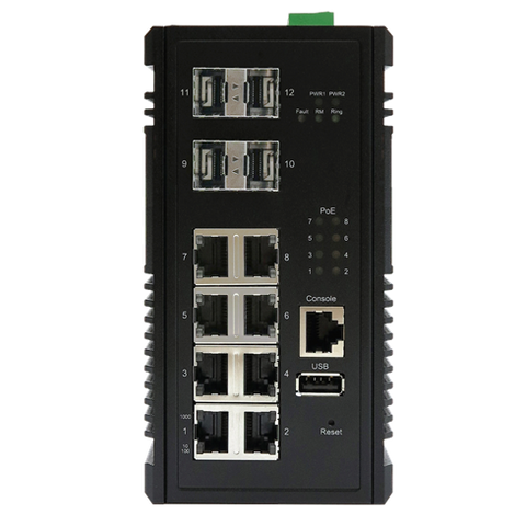 DYMEC KY-CPG0804, 12 Port, Managed, PoE+,Layer 3, IEC 61850-3, Router/Switch, with 8 x 10/100/1000Base-T(X) PSE (30 Watt) ports and 4 x 1000Base-X SFP ports, Din-Rail supporting RIP, OSPF & IPv6 Protocols, DoS / DDoS Supression - DYMECDIRECT