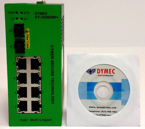 DYMEC KY-3028EMP+ - 10 Port, Managed, Class 1 Division 2 Hazardous Area, Power over Ethernet +,  Industrial Ethernet Switch. SCADA - IP 40, IEEE1588v2, with DHCP Server, Din-Rail or Shelf Mount - DYMECDIRECT