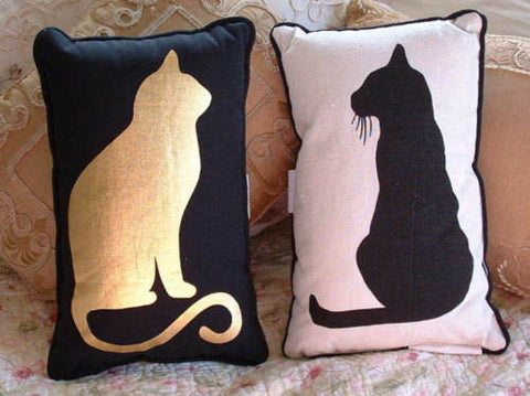 Black Cat & Gold Foil Cat Accent PILLOW - The Good Cat Company