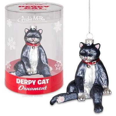 Black & White Tuxedo Derpy Cat Glass Ornament - The Good Cat Company