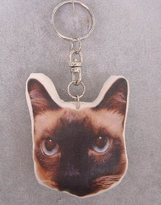 Chocolate Seal Point Siamese Cat Keychain - The Good Cat Company