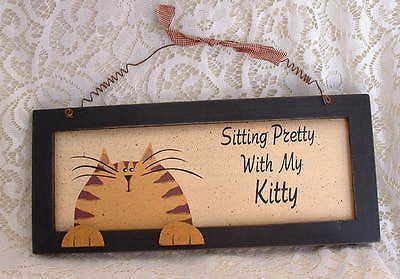Country Orange Tabby Cat Sitting Pretty with my Kitty Cat Wood Sign - The Good Cat Company