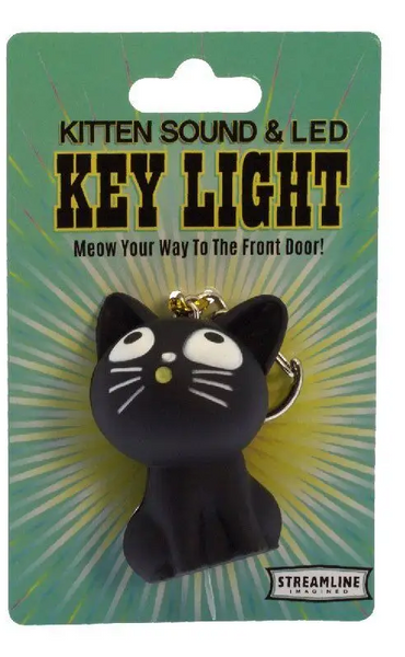 Mewing Kitty Finds the Way LED Keychain