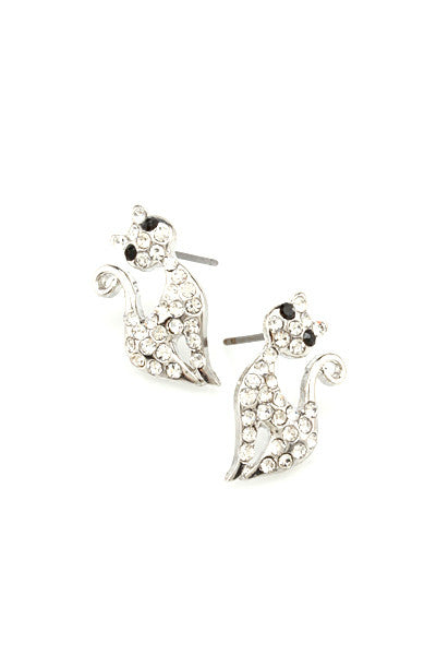 Retro Stylized Silver & Crystal Cat Earrings - The Good Cat Company