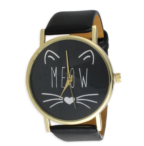Black Cat Face Meow Watch - The Good Cat Company