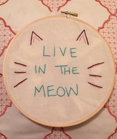 "Hand crafted Cat ""Live in the Power of Meow"" Embroidery Hoop Art - The Good Cat Company"