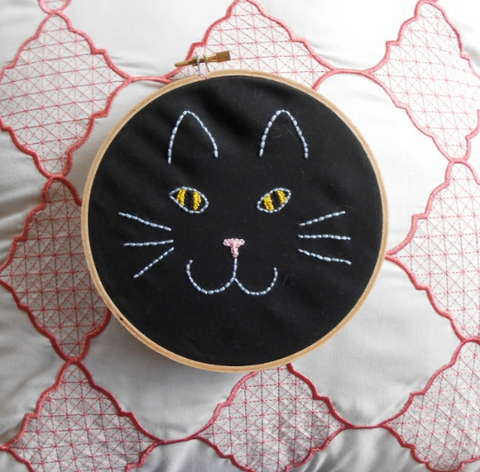 Sweet Black Cat Face Handmade Embroidery Hoop Art - The Good Cat Company