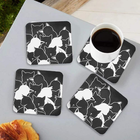 Black Cat Recycled Paper Coaster Set
