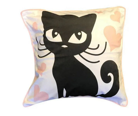 Wide Eyed Black Cat & Hearts Cat Throw Pillow