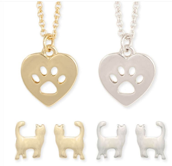 Felines Forever Cat Post Earring & Paw Necklace Set
