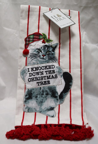 Christmas Cat I Knocked Down the Christmas Tree Kitchen Towel Set